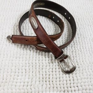 Vintage Fossil Brown Leather Concho Belt Size 38